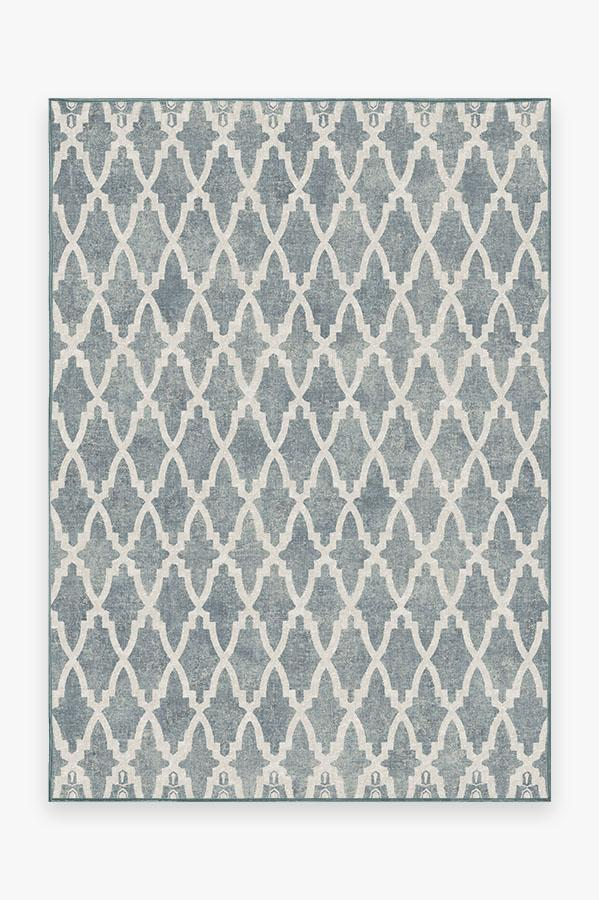 Washable Rug Cover & Pad | Soraya Trellis Slate Rug | Stain-Resistant | Ruggable | 5'x7'