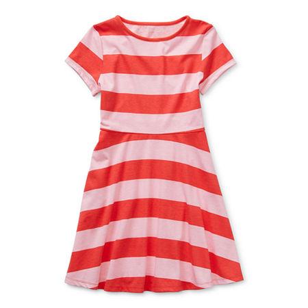 Arizona Little & Big Girls Short Sleeve Skater Dress, X-large (18.5) Plus , Pink