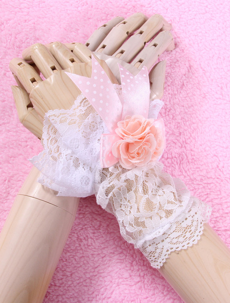 Milanoo White Bows Flowers Lace Synthetic Lolita Gloves