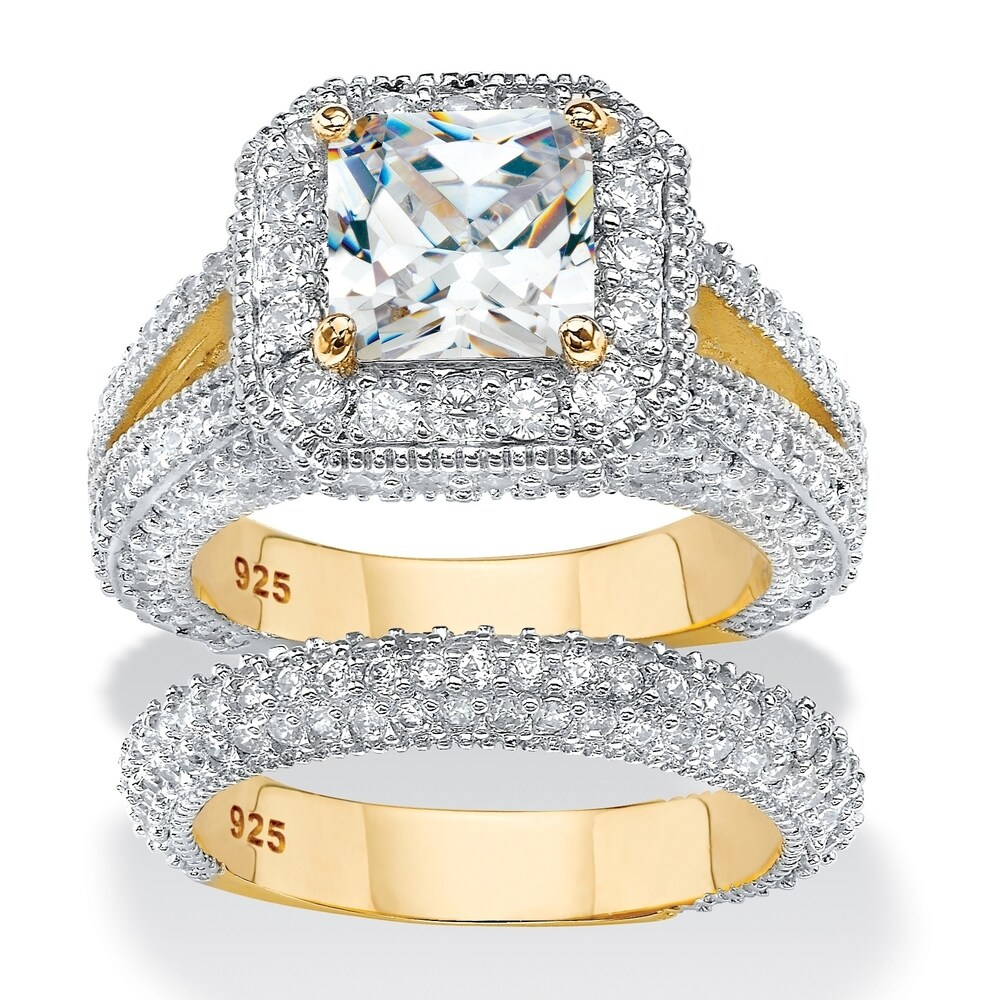 Gold over Sterling Silver Princess Shaped Cubic Zirconia Ring Set (7)