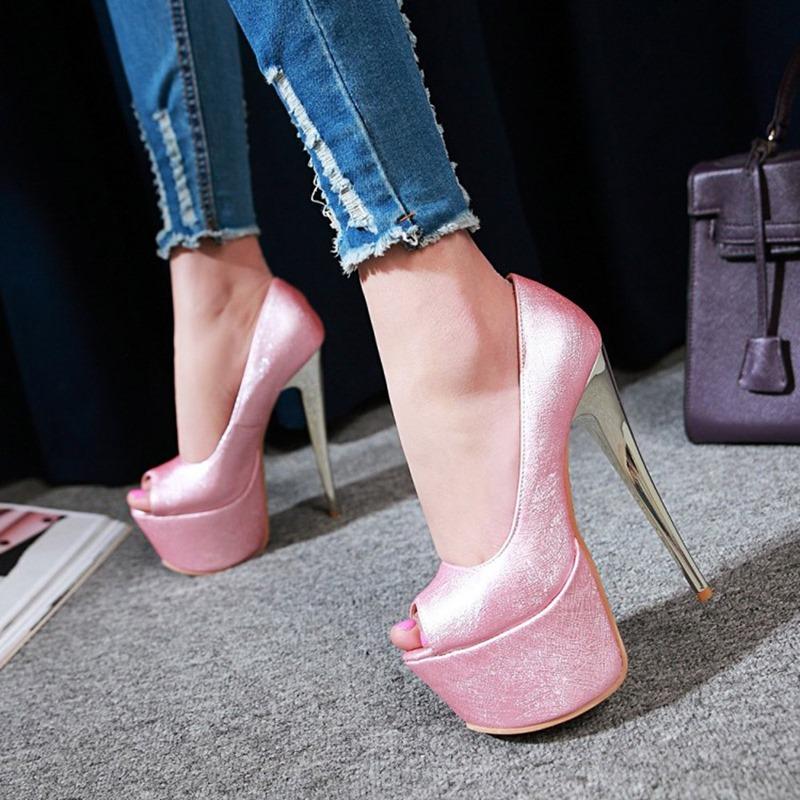 Ericdress Peep Toe Slip-On Stiletto Heel Low-Cut Upper Thin Shoes