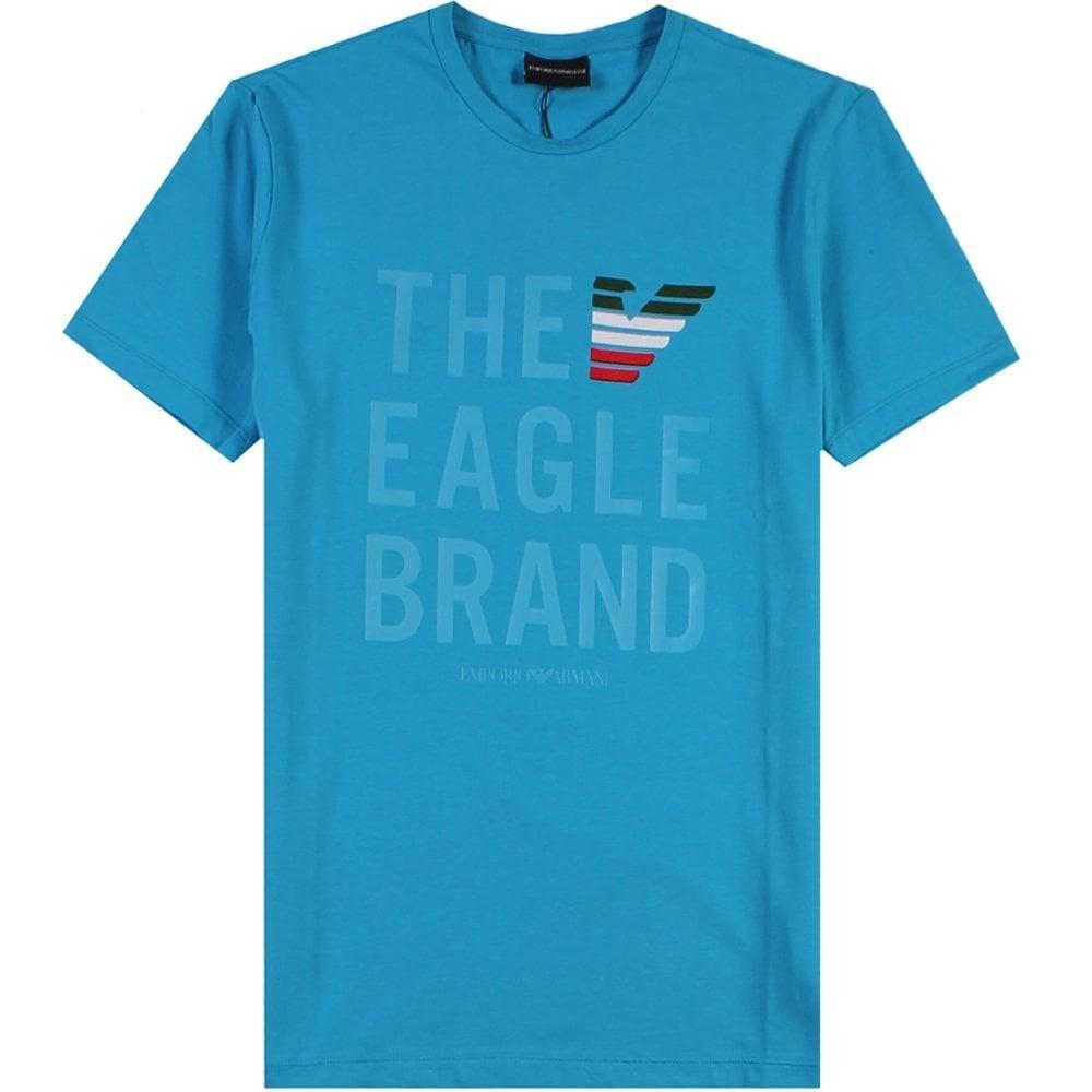 "Emporio Armani ""THE EAGLE BRAND"" T-Shirt Blue Colour: BLUE, Size: EXTRA LARGE"