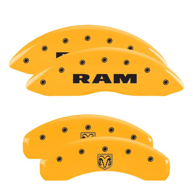 MGP Caliper Covers 12043SRMHYL Set of 4: Yellow finish, Black RAM / RAMHEAD