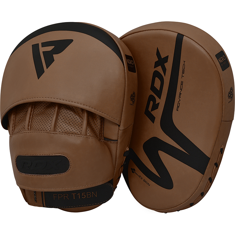 RDX T15 Nero Boxing Training Focus Pads Curved Punch Mitts Brown