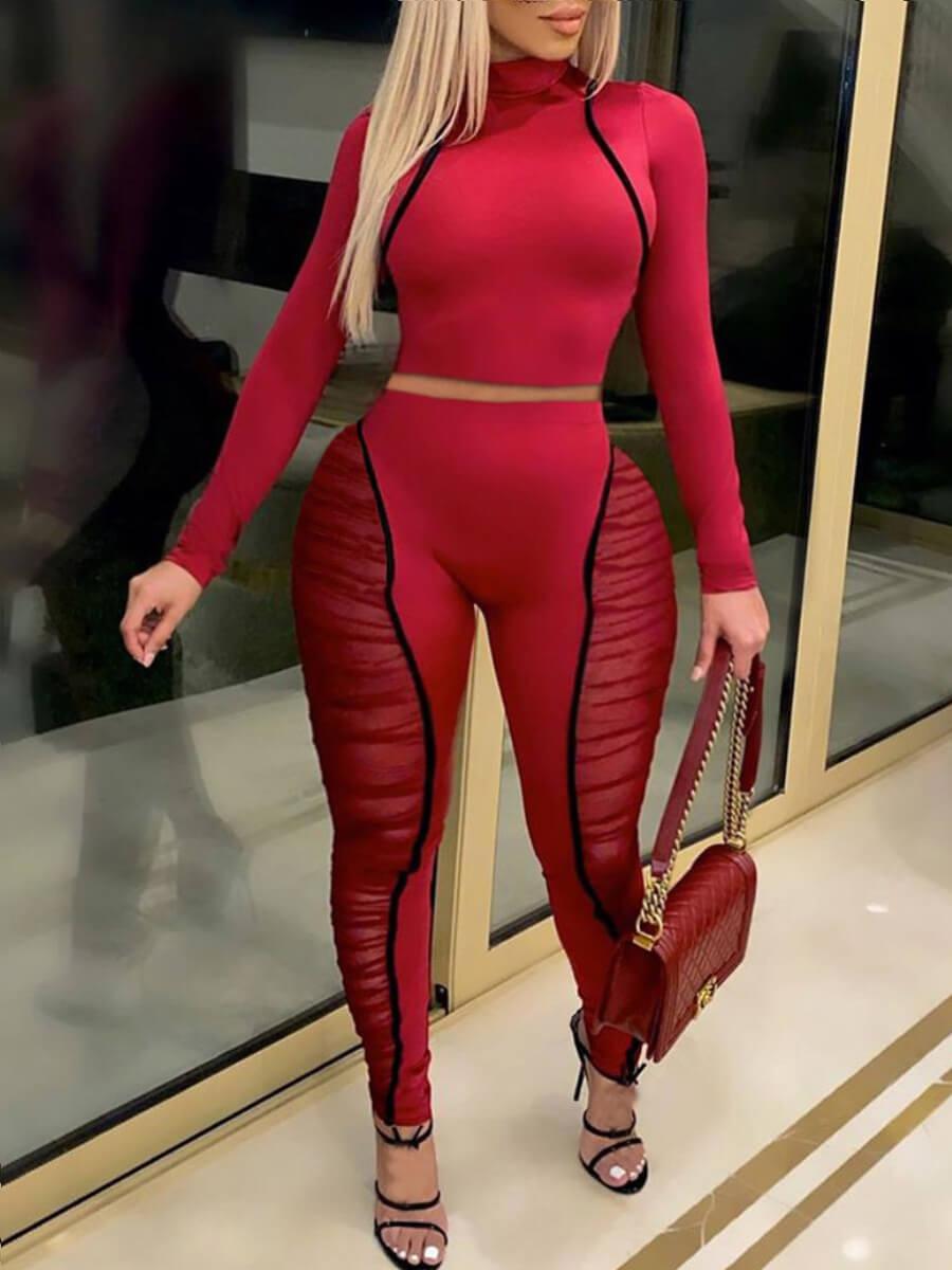LW Lovely Sportswear Half A Turtleneck Patchwork Red Plus Size Two-piece Pants Set
