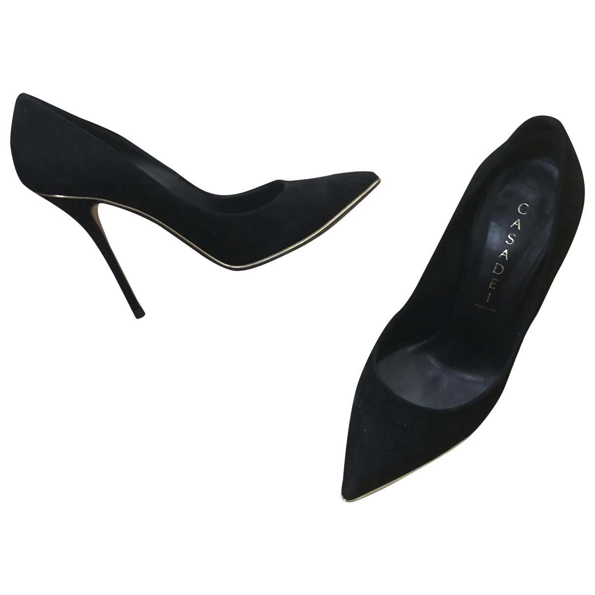 Casadei \N Black Leather Heels for Women 36.5 EU