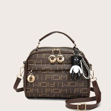 Letter Graphic Satchel Bag With Bag Charm