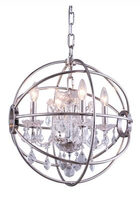 1130D17PN/RC 1130 Geneva Collection Pendent Lamp D:17 H:19.5 Lt:4 Polished Nickel Finish (Royal Cut