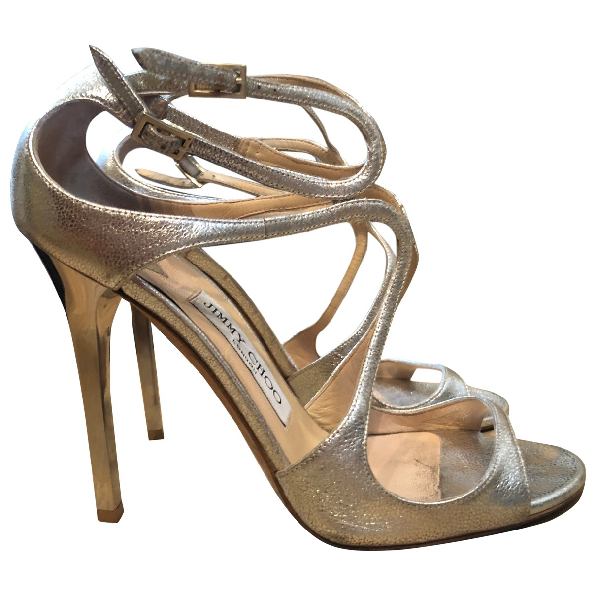 Jimmy Choo Lance Gold Leather Sandals for Women 38 EU
