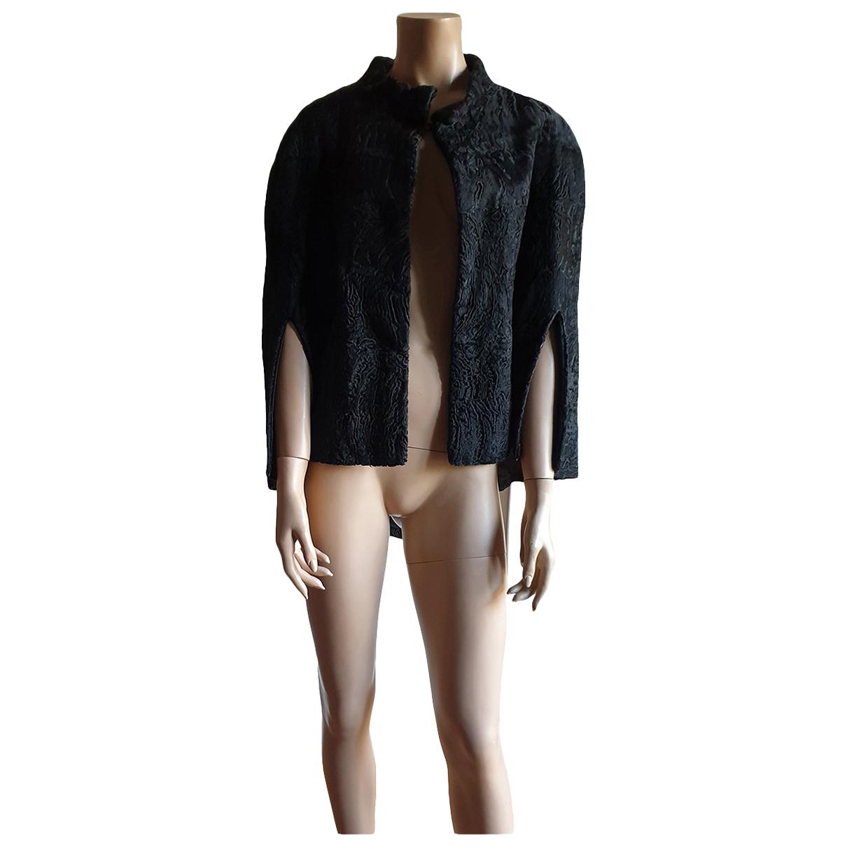 Enes - Manteau   pour femme en astrakan - noir