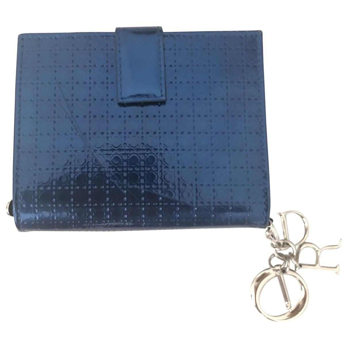 Dior - Portefeuille Lady Dior pour femme en cuir verni - marine