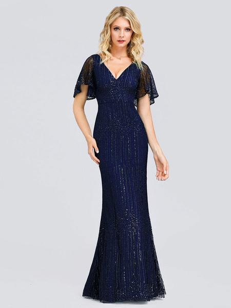 Milanoo Vestido de noche Una linea de cuello en V Saten mate Hasta el suelo Vestidos de cena formales plisados