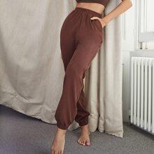 Slant Pocket Solid Sweatpants