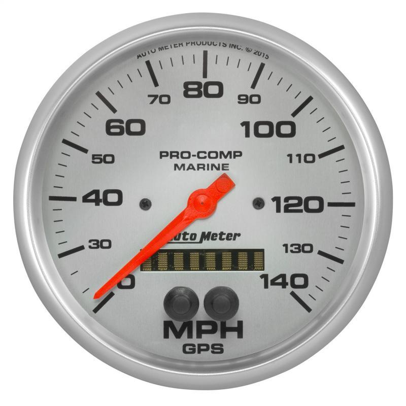 AutoMeter GAUGE; SPEEDOMETER; 5in.; 140MPH; GPS; MARINE SILVER