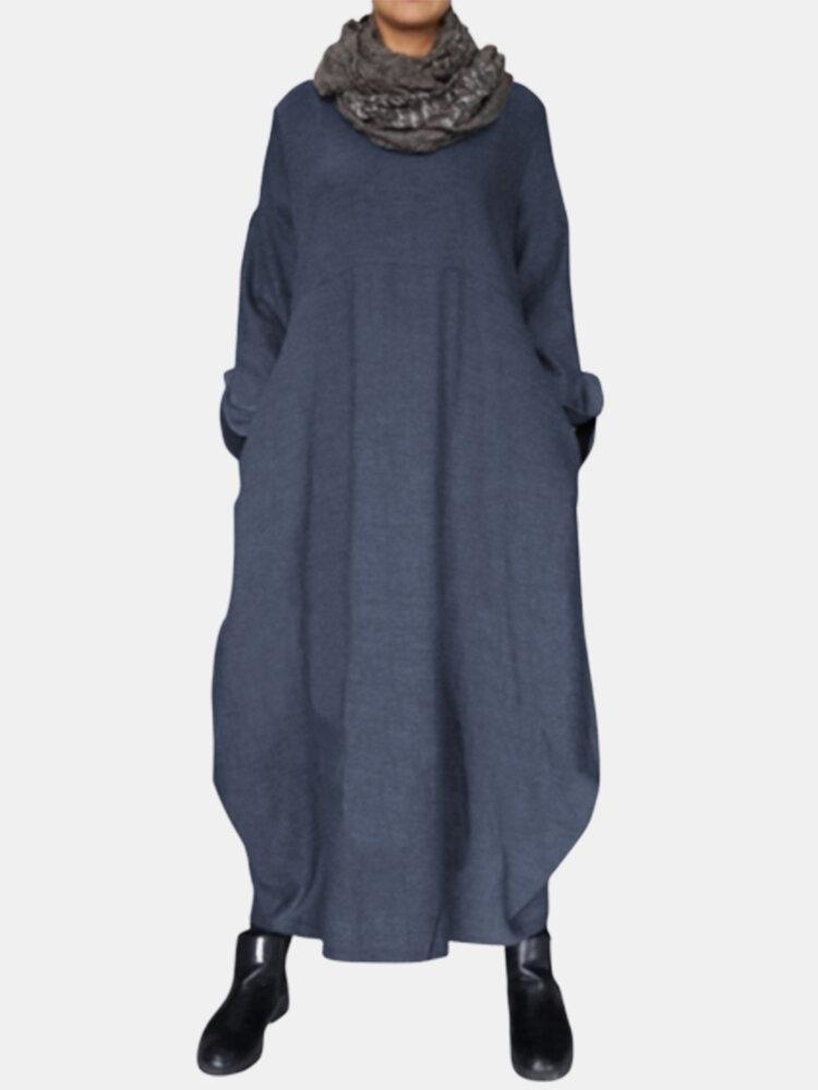 Lace Sleeve Solid Color Baggy Plus Size Vintage Maxi Dress