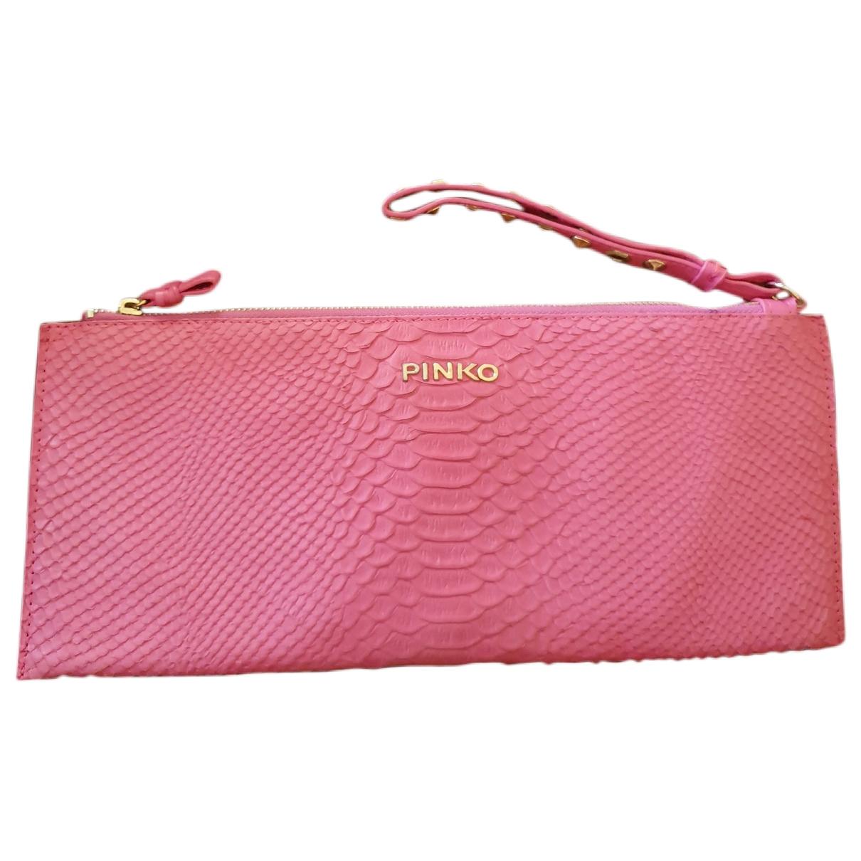 Pinko \N Pink Leather Clutch bag for Women \N