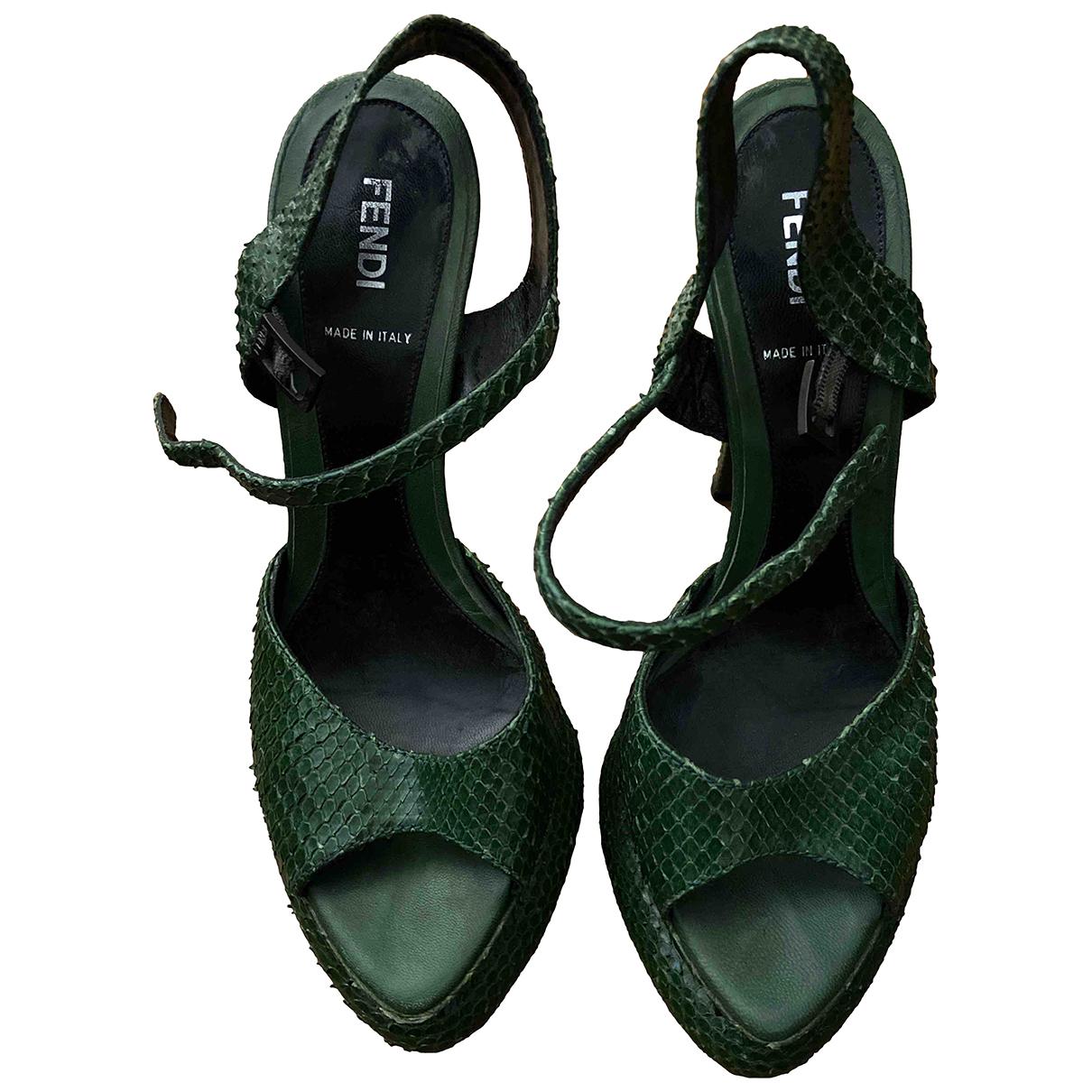 Fendi N Green Exotic leathers Sandals for Women 38 EU