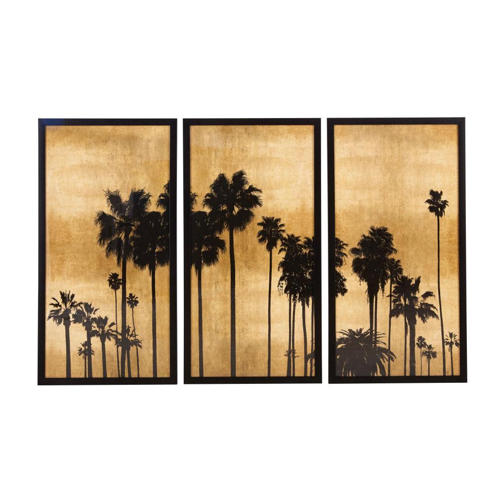 3-teiliger Palmendruck, schwarz und goldfarben 164x105