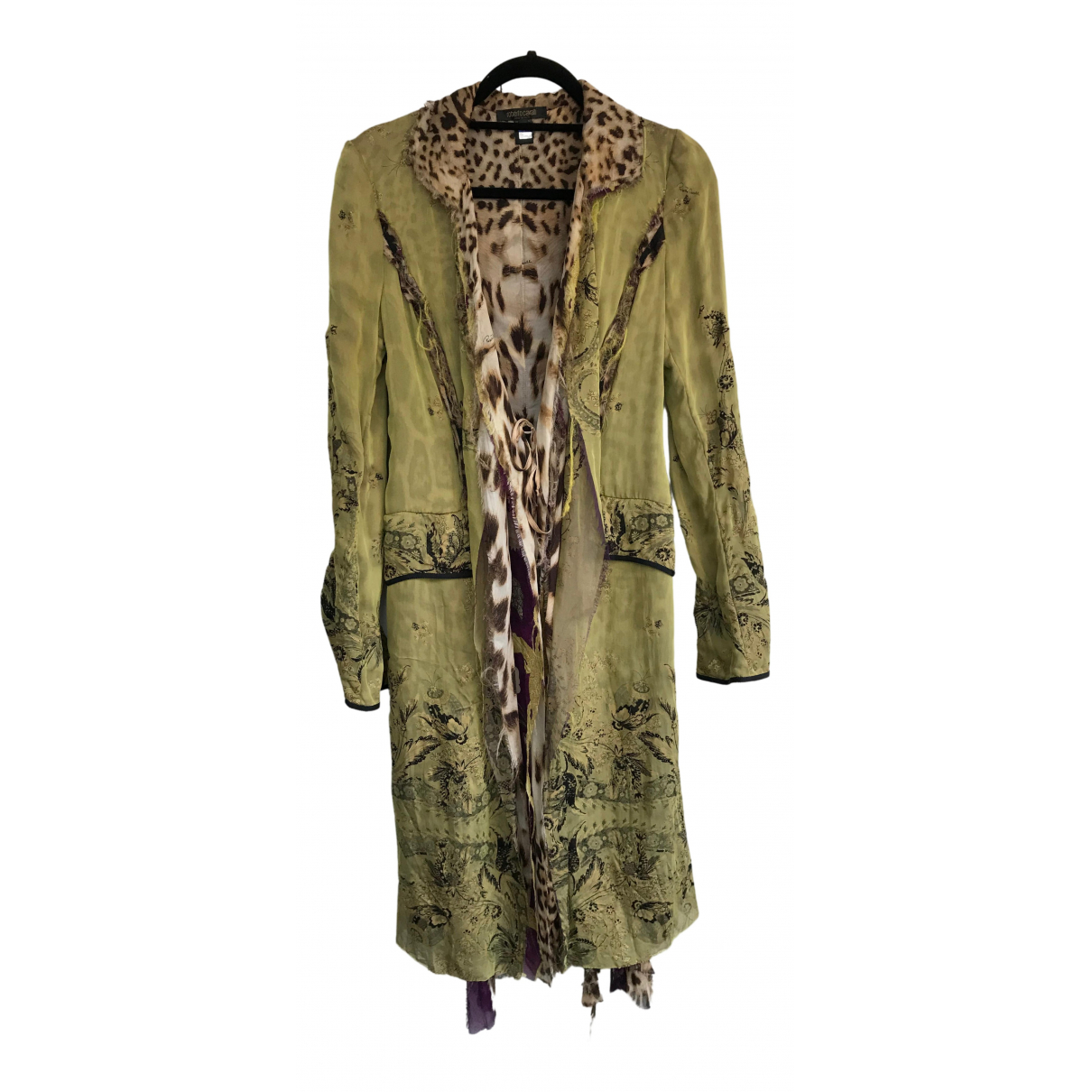 Roberto Cavalli \N Green Silk coat for Women 38 FR