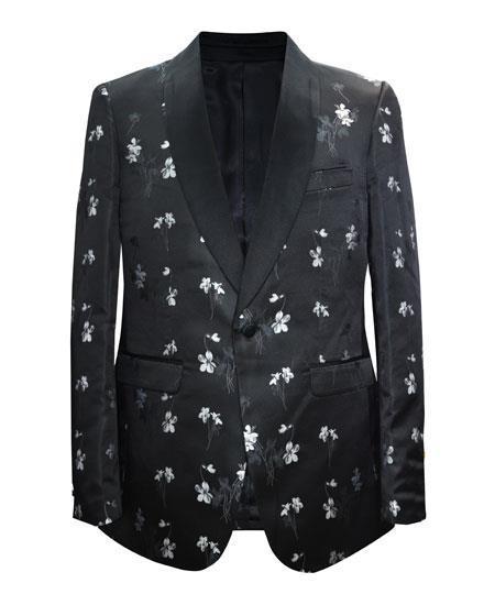 Cheap Mens Printed Flower Jacket Prom modern Tux Black