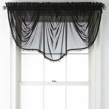 Home Expressions Lisette Sheer Imperial Beaded Valance, One Size , Black