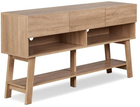 Ariza Collection 91286 59 TV Stand with 3 Drawers  2 Open Compartments  Bottom Shelf  Wire Management Holes and Wood Frame Construction in Rustic