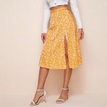 Falda con abertura floral de margarita
