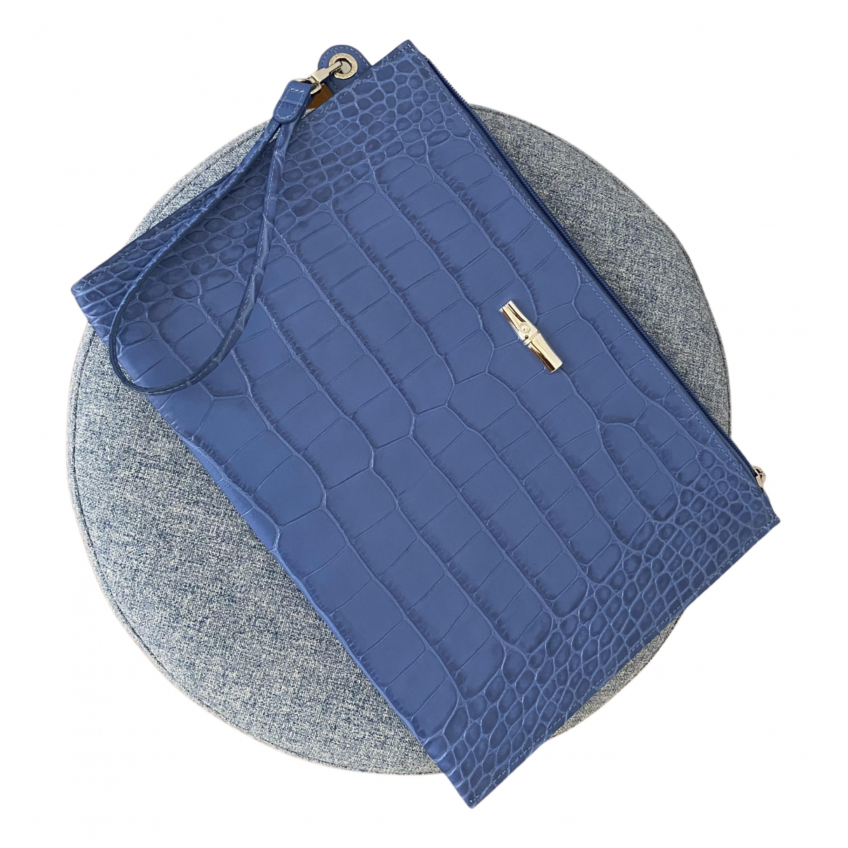 Longchamp Roseau Clutch in  Blau Lackleder