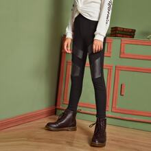 Girls Contrast PU Solid Pants