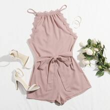 Tie Back Guipure Lace Belted Halter Romper