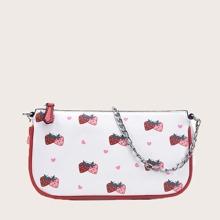 Strawberry Print Baguette Bag