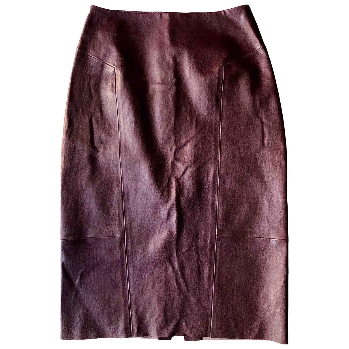 Yves Salomon \N Burgundy Leather skirt for Women 36 FR
