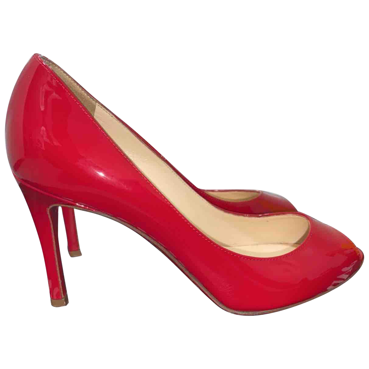 Christian Louboutin N Red Leather Heels for Women 36.5 EU