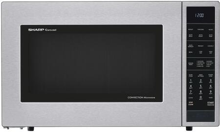 SMC1585BS 1.5 cu. ft. Microwave Oven with Convection Cooking  Auto Defrost  Popcorn and Beverage Settings and 10 Cooking Power Levels  Removable