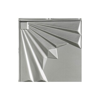 Fasade Art Deco Decorative Vinyl 2ft x 4ft Glue Up Ceiling Tile in Argent Silver (5 Pack) (12x12 Inch Sample)