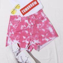 Grosse Grossen - Denim Shorts mit schraegen Taschen und Batik