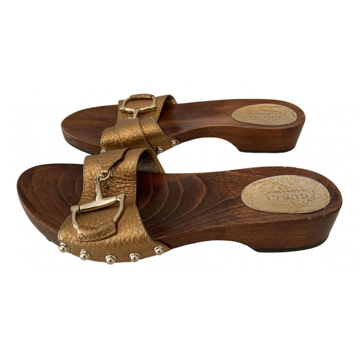 Gucci \N Metallic Leather Mules & Clogs for Women 37 EU
