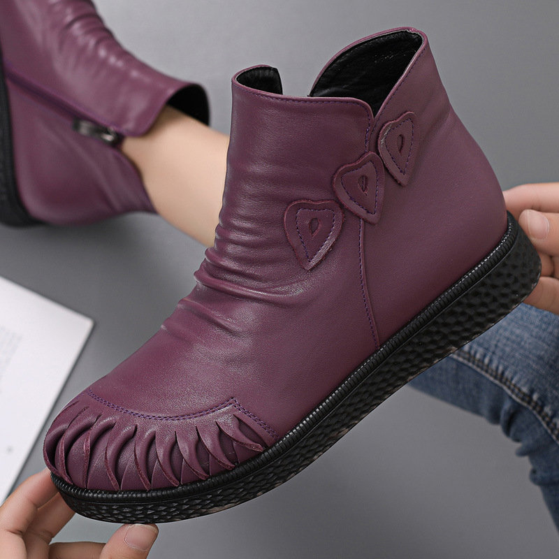 Women Genuine Leather Large Size Soft Sole Comfy Ankle Boots