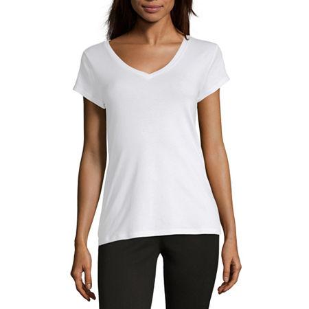 Liz Claiborne Short Sleeve V-Neck Tee - Tall, Small Tall , White