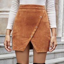 Suede Button Front Wrap Skirt