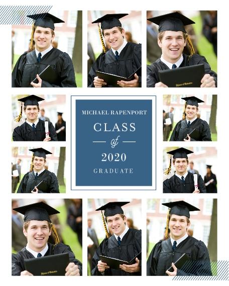 Graduation 16x20 Adhesive Poster, Home Décor -Classy Grid Graduation