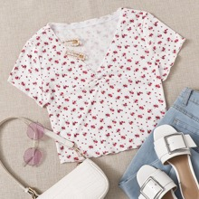 Ruched Front Ditsy Floral Top