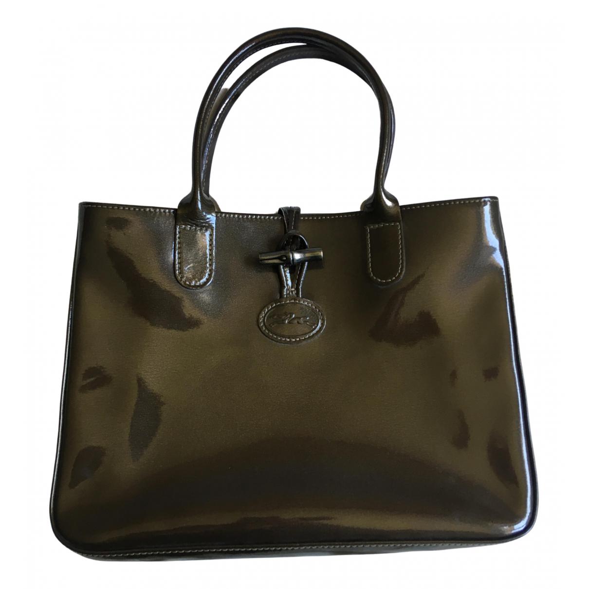 Longchamp - Sac a main Roseau pour femme en cuir verni - kaki
