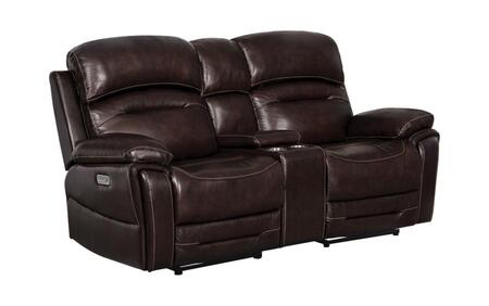 Amanda Collection 610022PPP Power Reclining Loveseat with Console and Pillow top Style Armrests  Power Outlet with USB Docks and Cup Holders &