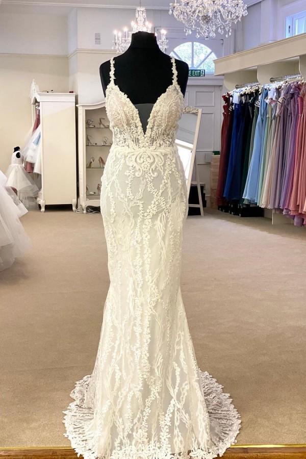V-Neck Strap Slim Floral Tulle Longueur de plancher Robe de mariee de mariage