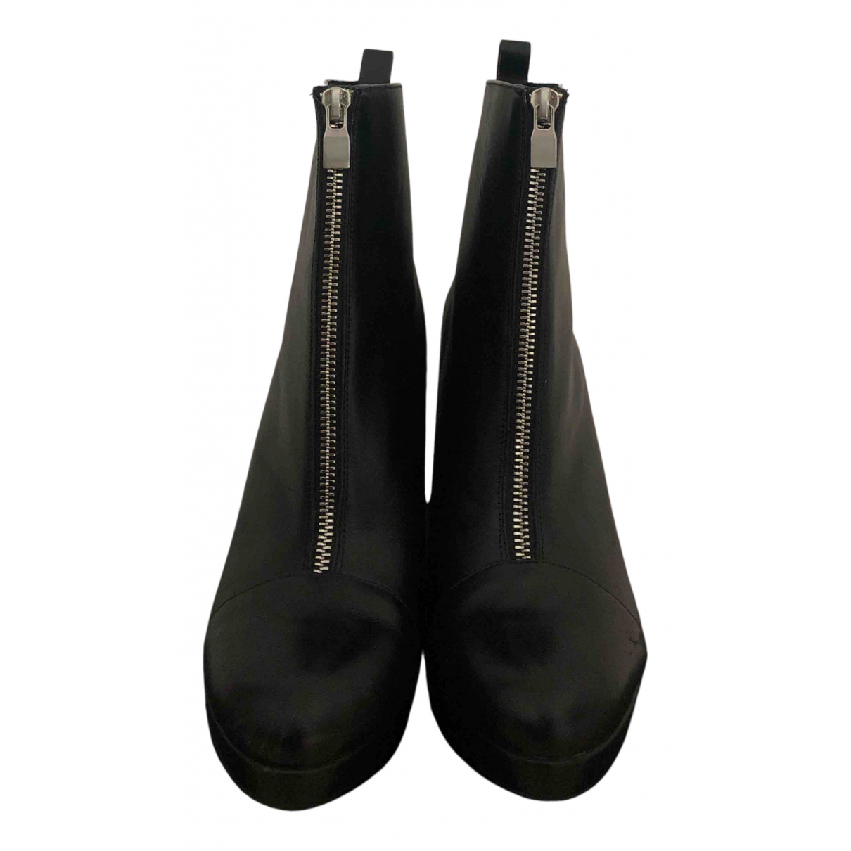 Zara N Black Leather Ankle boots for Women 40 IT