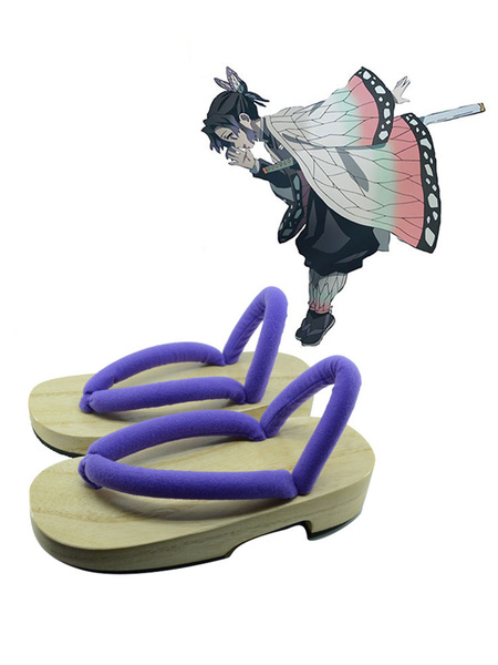 Milanoo Demon Slayer: Kimetsu No Yaiba Shinobu Kocho Clogs And Socks Anime Cosplay Accessories