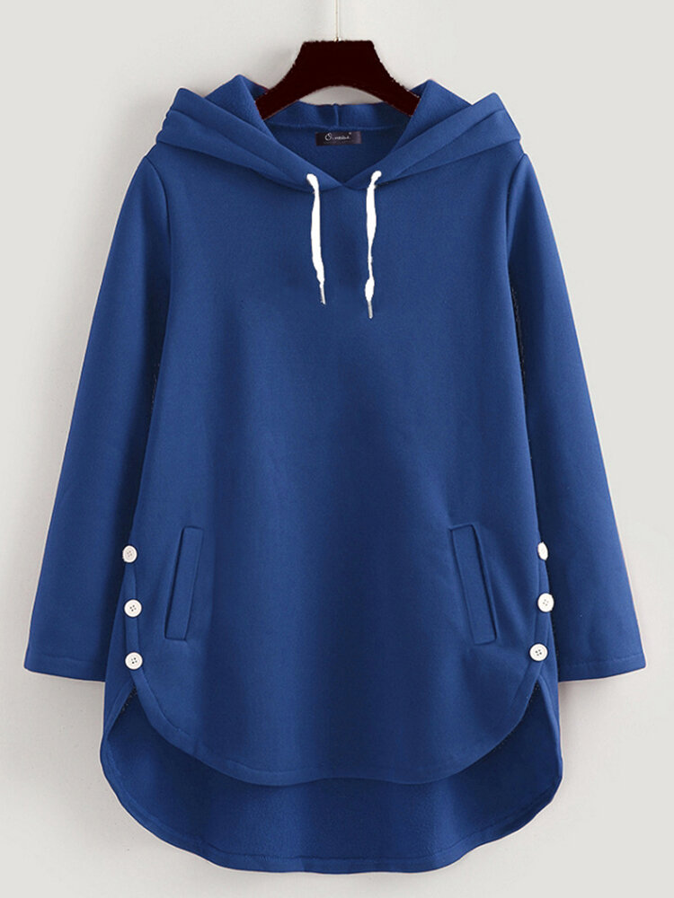 Casual Solid Color Long Sleeve Irregular Hoodie For Women