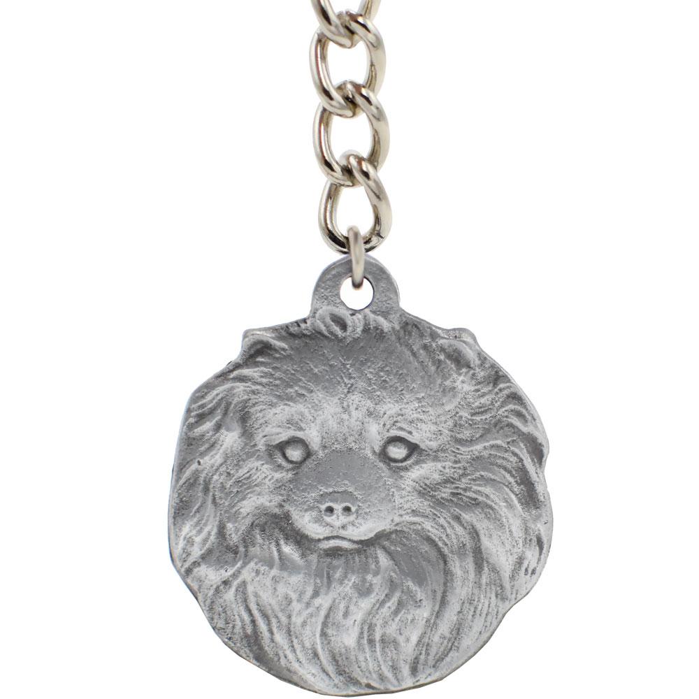 Dog Breed Keychain USA Pewter - Pomeranian (2.5