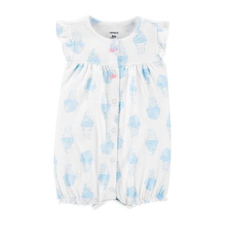 Carter's Baby Girls Short Sleeve Romper, 12 Months , White